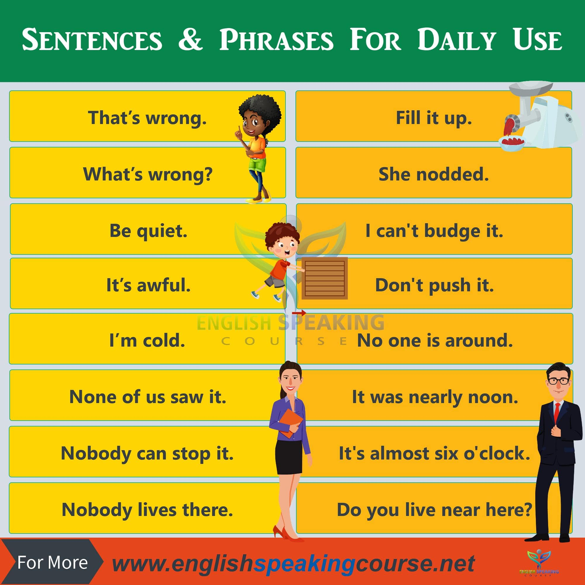 only 50 sentences & phrases for daily use