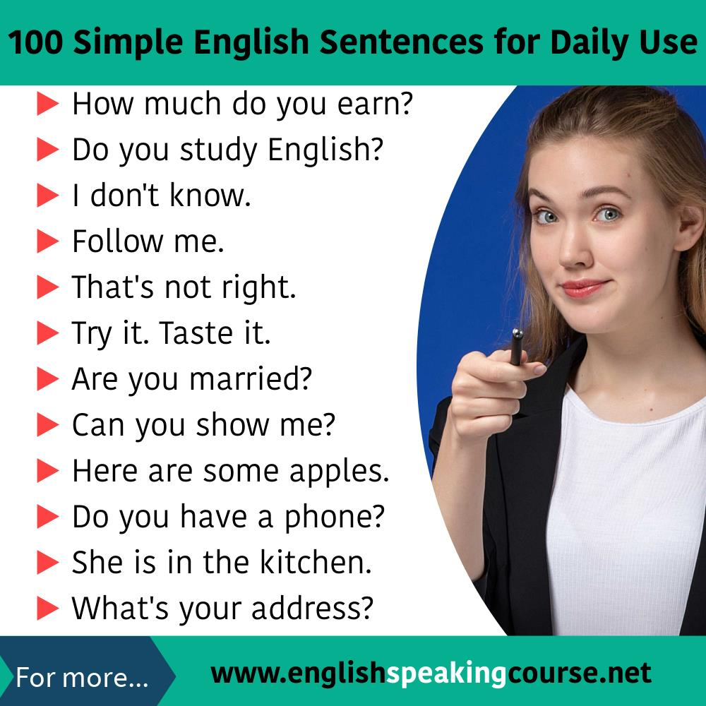 100 English sentences used in daily life