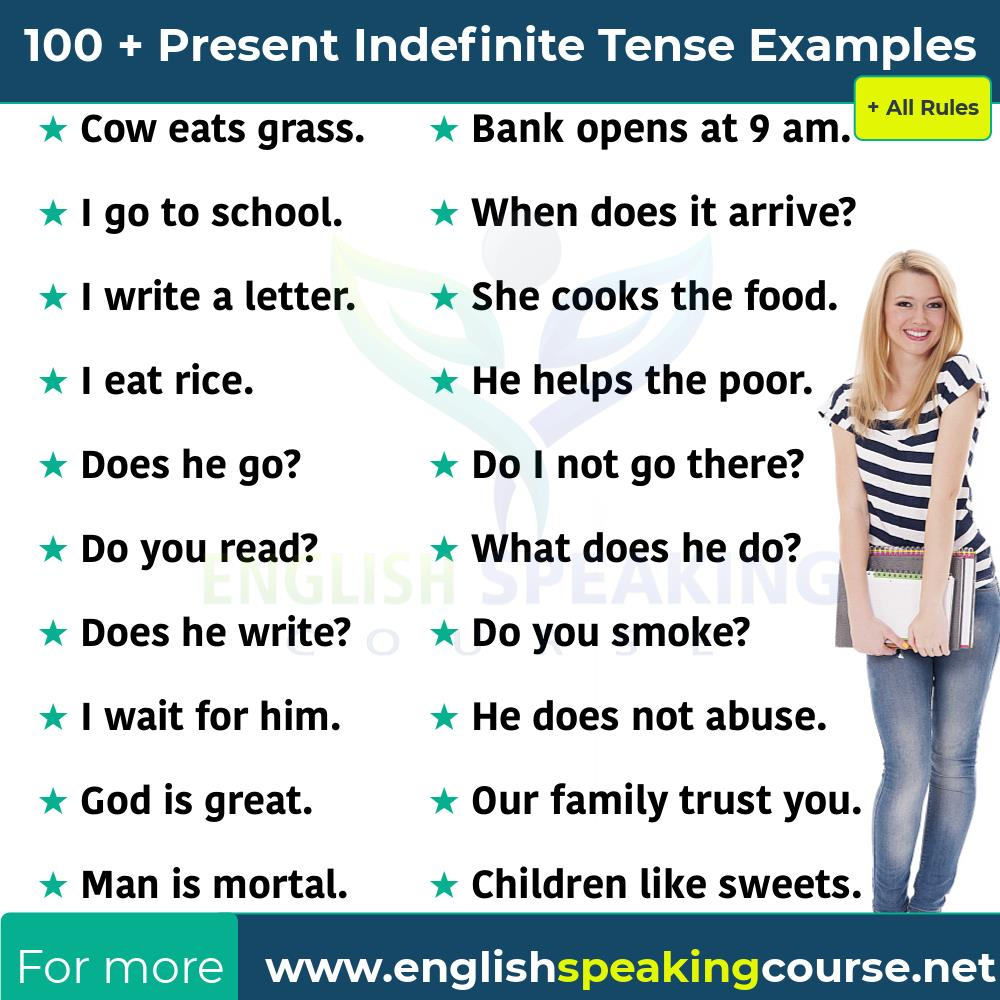 Present Indefinite Tense + 100 Examples + All Rules