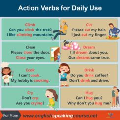 Action Verbs for Daily Use with Picture