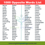 Opposite Words list in English