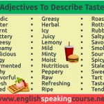 Adjectives for describing food Taste in English 2