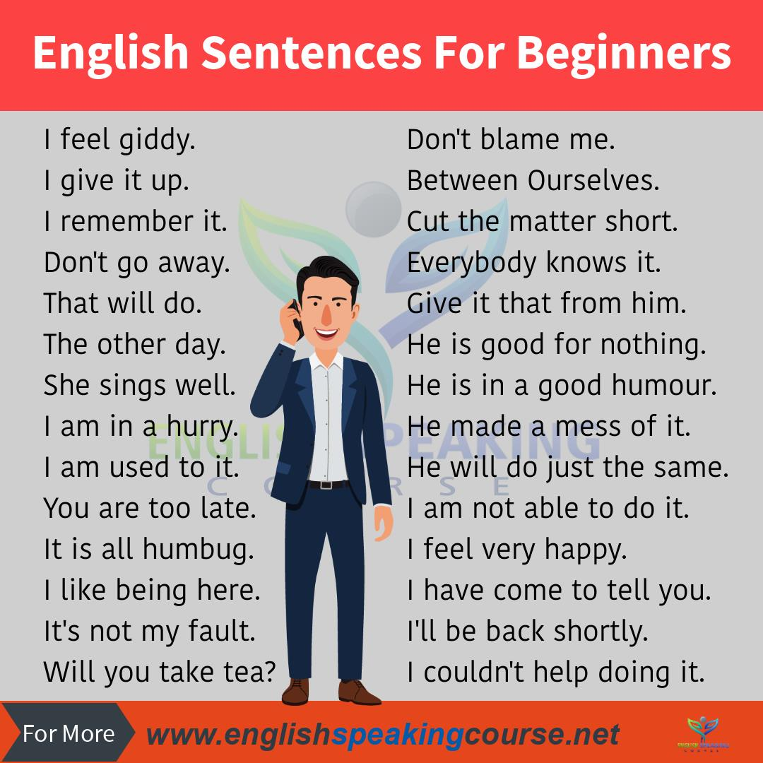 50 Short English Sentences For Beginners