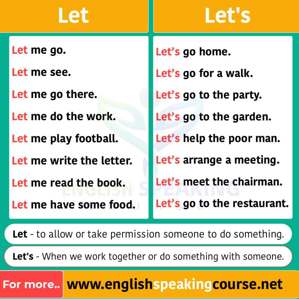 How to use let in English grammar Basic English Grammar