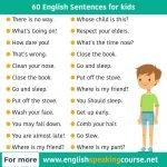 60 English Sentences for kids