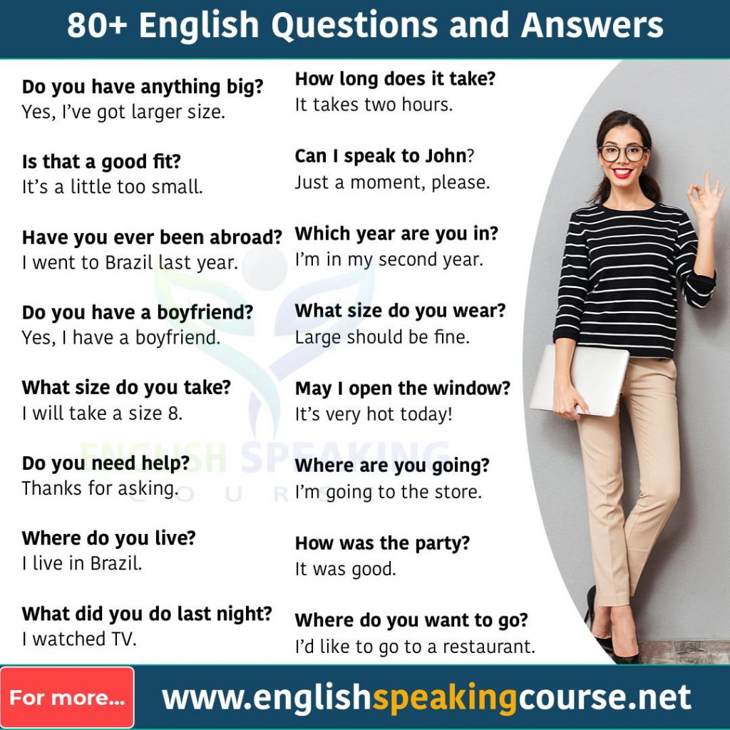80+ English questions and answers for Conversation1